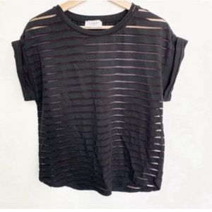 Snobby Sheep Cashmere l Black Sheer Stripped Tee